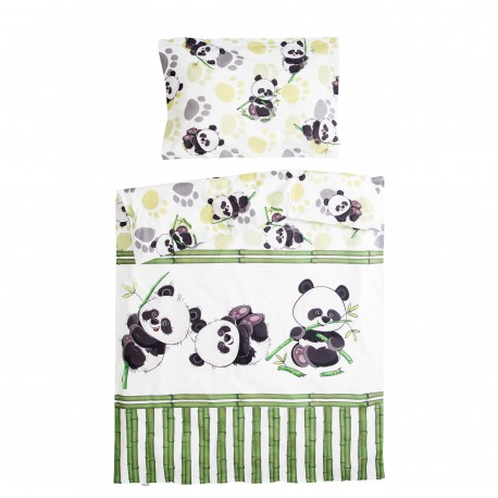 Bamboo panda - 100% Cotton Cot / Crib Set (Duvet Cover & Pillow Case)