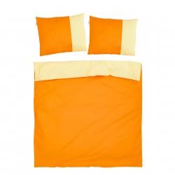 Orange et Jaune - 100% Coton Parure de Lit (Housse de couette Réversible et Taies d'oreiller)