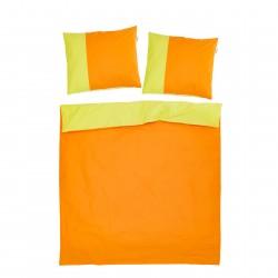 Оранжево и Зелено - 100% памук двулицев спален комплект (плик и калъфки)