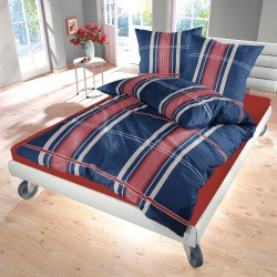 Деним Син - 100% памук спален комплект (плик и калъфки), многоцветен
