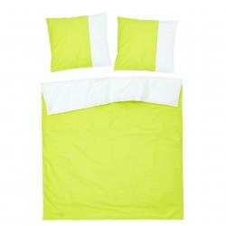 Vert et Blanc - 100% Coton Parure de Lit Réversible (Housse de couette et Taies d'oreiller)