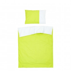 Green & White - 100% Cotton Reversible Bed Linen Set (Duvet Cover & Pillow Cases)