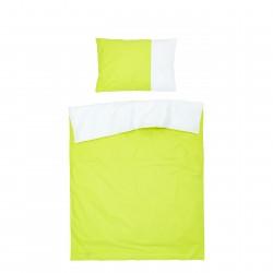 Vert & Blanc - 100% Coton Parure de Lit Réversible (Housse de couette et Taies d'oreiller)