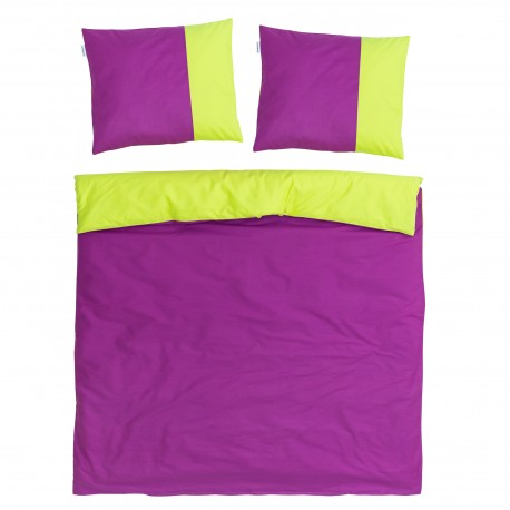 Purple & Green - 100% Cotton Reversible Bed Linen Set (Duvet Cover & Pillow Cases)