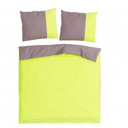 Green and Ash Pink - 100% Cotton Reversible Bed Linen Set (Duvet Cover & Pillow Cases)
