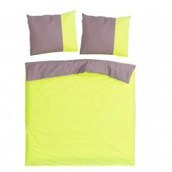 Verde e Rosa cenere - 100% Cotone Biancheria da letto reversibile (Copripiumino e Federe)