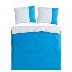 Bleu & Bleu Clair - 100% Coton Parure de Lit (Housse de couette Réversible et Taies d'oreiller)