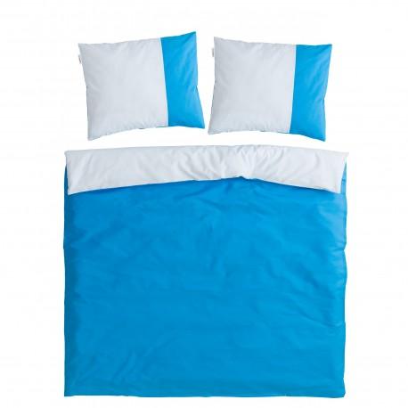 Blue & Light Blue - 100% Cotton Bed Linen Set (Reversible Duvet Cover & Pillow Cases)