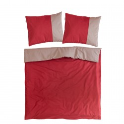 Bordeaux and Ash Pink - 100% Cotton Bed Linen Set (Reversible Duvet Cover & Pillow Cases)