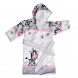Zèbre Peignoir enfant avec capuche Robe de chambre Pati'Chou