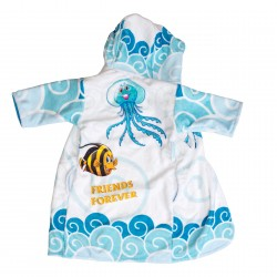Fish and Jellyfish friends Kids Hooded towel bathrobe Pati'Chou