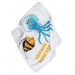 Poisson et Méduse amis Serviette sortie de bain bébé avec capuche Pati'Chou