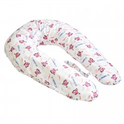 Pati'Chou coussin d'allaitement et maternité 180 cm et 100% coton taie Flamant