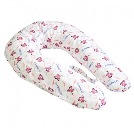 Pati'Chou nursing and maternity pillow 180 cm and 100% cotton pillowcase Flamingo