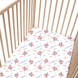 Flamingo Fitted Sheet Pati'Chou 100% Cotton animal pattern for baby and kid bed