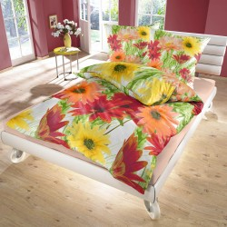 Lianne (Gerberas) - Bed Linen Set, 100% Cotton (Duvet Cover & Pillow Cases)
