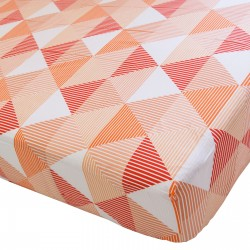 Arlette Orange - Drap Housse / 100% Coton Linge de Lit