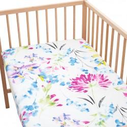 April Drap housse Pati'Chou 100% Coton motif fleurs pour lit bébé et enafant
