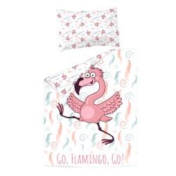 Фламинго - 100% памук бебешки спален комплект (торба и калъфка)