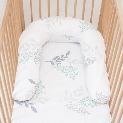 Pati'Chou Cuscino per allattamento maternità е riduttore lettino 180 cm e federa di 100% cotone Victoria
