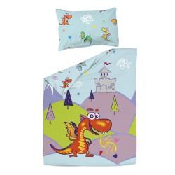 Дракони - 100% памук бебешки спален комплект (торба и калъфка)