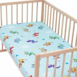 Dragons Fitted Sheet Pati'Chou 100% Cotton animal pattern for baby and kid bed