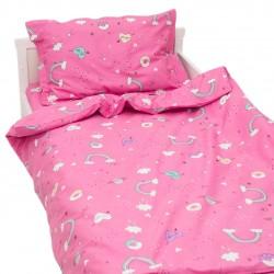 Еднорог - 100% памук бебешки спален комплект (торба и калъфка)