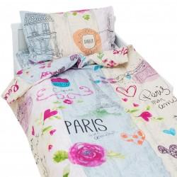 Mon Amour - 100% Coton parure de lit pour bébé (Housse de couette et Taie d'oreiller)