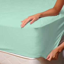 Aqua - Fitted Sheet / 100% Cotton Bedding