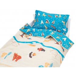 Village indien - Pat'Chou 100% Coton parure de lit pour bébé (Housse de couette et Taie d'oreiller)