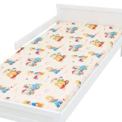 Chiens en camion et pelle bagger Drap housse Pati'Chou 100% Coton motif animaux pour lit bébé et enafant