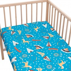 Indian village Fitted Sheet Pati'Chou 100% Cotton animal pattern for baby and kid bed