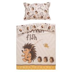 Таралежи - 100% памук бебешки спален комплект (торба и калъфка)