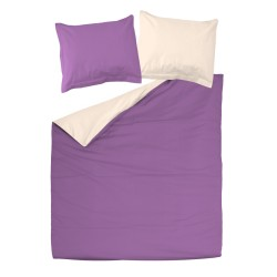 Violet and Light Ecru - 100% Cotton Bed Linen Set (Reversible Duvet Cover & Pillow Cases)