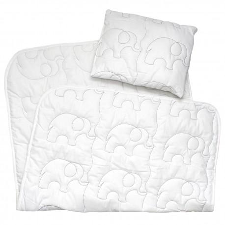 Pati'Chou комплект бебешка олекотена завивка и възглавница (бродерия слончета)