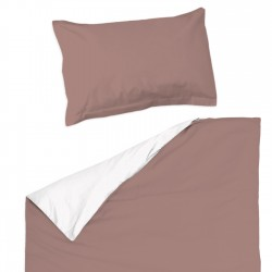 Rose cendré et Blanc - 100% Coton parure de lit pour bébé (Housse de couette et Taie d'oreiller)
