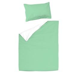 Baby Aqua et Blanc - 100% Coton parure de lit pour bébé (Housse de couette et Taie d'oreiller)