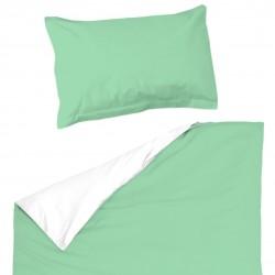 Аква и Бяло - 100% памук бебешки спален комплект (торба и калъфка)