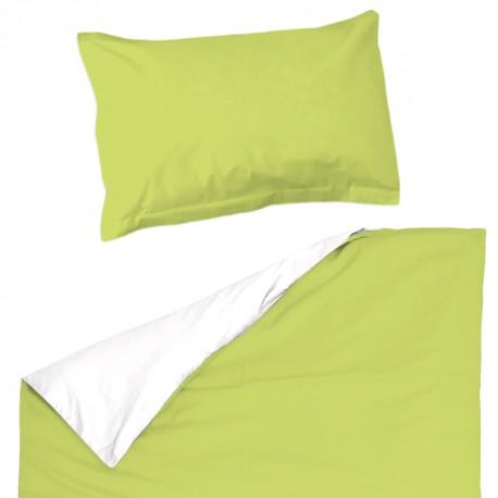 Baby Vert & Blanc - 100% Coton parure de lit pour bébé (Housse de couette et Taie d'oreiller)