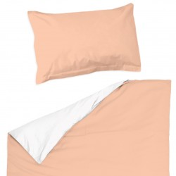Peach (Pink) and White - 100% Cotton Cot / Crib Set (Duvet Cover & Pillow Case)