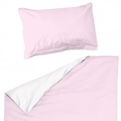 Pink light and White - 100% Cotton Cot / Crib Set (Duvet Cover & Pillow Case)