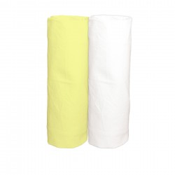 Yellow and White / Pack of 2 Fitted Sheet - 100% Cotton Cot / Crib Bedding