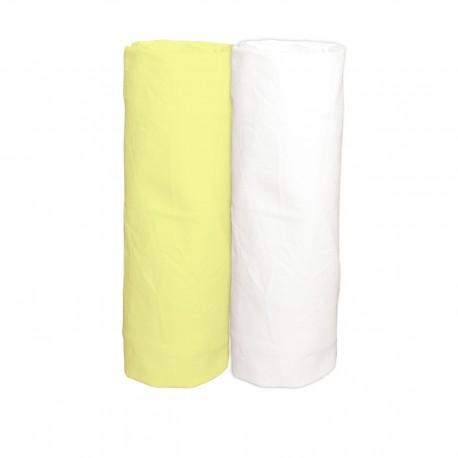 Jaune & Blanc / Lot de 2 Draps Housse - 100% Coton linge de lit pour bébé