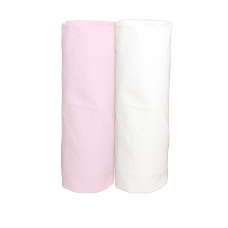 Pink light and White / Pack of 2 Fitted Sheet - 100% Cotton Cot / Crib Bedding