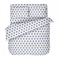 Navy white - 100% Cotton Bed Linen Set (Duvet Cover & Pillow Cases)