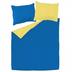 Bleu et Jaune - 100% Coton parure réversible de lit (Housse de couette et Taies d'oreiller)