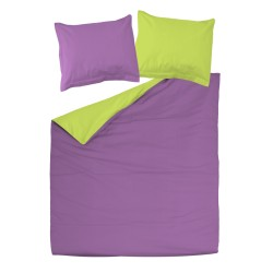Violet and Green - 100% Cotton bed linen reversible set (Duvet Cover & Pillow Cases)