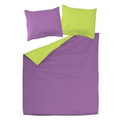 Violet et Vert - 100% Coton parure réversible de lit (Housse de couette et Taies d'oreiller)