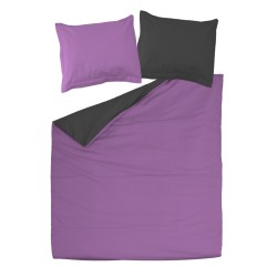 Violet and Black - 100% Cotton bed linen reversible set (Duvet Cover & Pillow Cases)