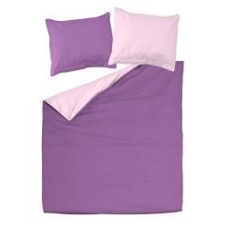 Violet et Rose clair - 100% Coton parure réversible de lit (Housse de couette et Taies d'oreiller)